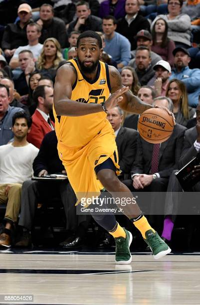 Royce O'Neale of the Utah Jazz controls the ball against the Houston Rockets in the second half of the 112101 win by the Rockets at Vivint Smart Home...