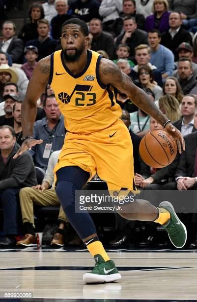 Royce O'Neale of the Utah Jazz controls the ball during their game against the Houston Rockets at Vivint Smart Home Arena on December 7 2017 in Salt...