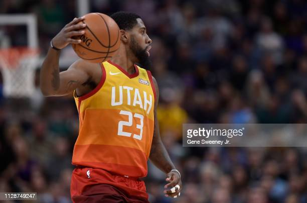 Royce O'Neale of the Utah Jazz controls the ball in a NBA game against the San Antonio Spurs at Vivint Smart Home Arena on February 09 2019 in Salt...