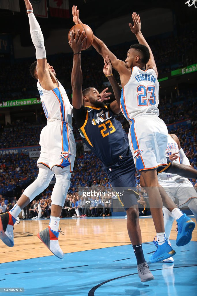 Royce O'Neale #23 of the Utah Jazz handles the ball against the Oklahoma City Thunder during Game One of Round One of the 2018 NBA Playoffs on April 15, 2018 at Chesapeake Energy Arena in Oklahoma City, Oklahoma.