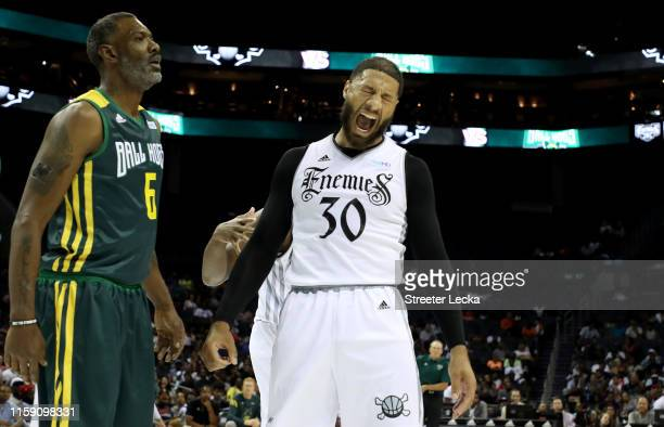 Royce White of Enemies reacts against Ball Hogs during week two of the BIG3 three on three basketball league at Spectrum Center on June 29, 2019 in...