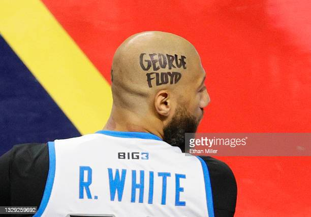 """Royce White of Power looks on with """"George Floyd"""" written on his head against the Triplets during the second week of the BIG3 at the Orleans Arena on..."""