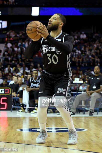 Royce White of the Enemies attempts a shot in the first half against the Power during week seven of the BIG3 three on three basketball league at...