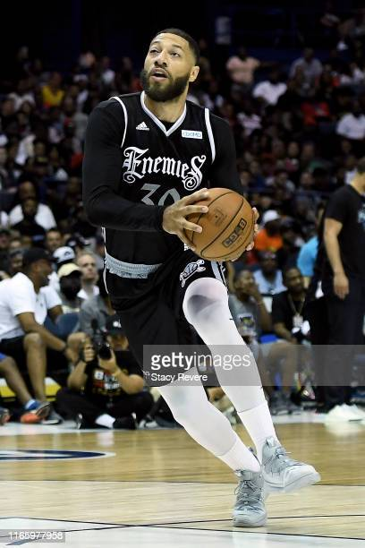 Royce White of the Enemies dribbles the ball in the second half against the Power during week seven of the BIG3 three on three basketball league at...