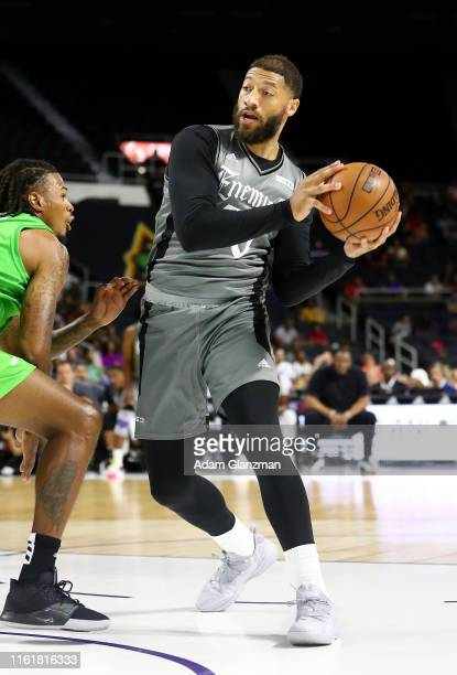 Royce White of the Enemies handles the ball against the Aliens during week four of the BIG3 three on three basketball league at Dunkin' Donuts Center...
