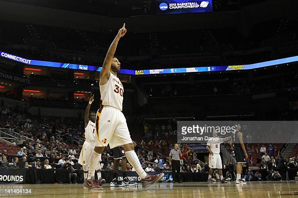 Royce White of the Iowa State Cyclones celebrates as the final seconds tick off th eclock in their 7764 win against the Connecticut Huskies during...