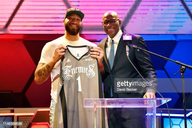 Royce White poses with BIG3 Commissioner Clyde Drexler after being drafted at by the Enemies in the first round during the BIG3 Draft at the Luxor...