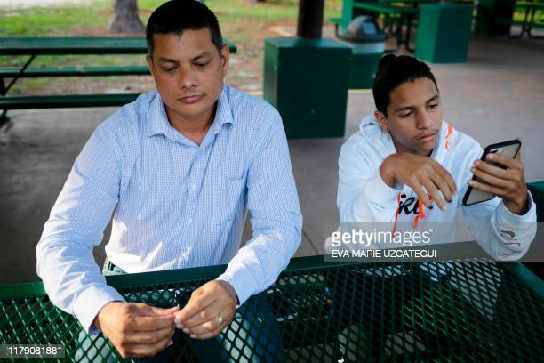 Royer Borges, father of Marjory Stoneman Douglas High School shooting survivor Anthony Borges , speaks during an interview with AFP, in Coral...