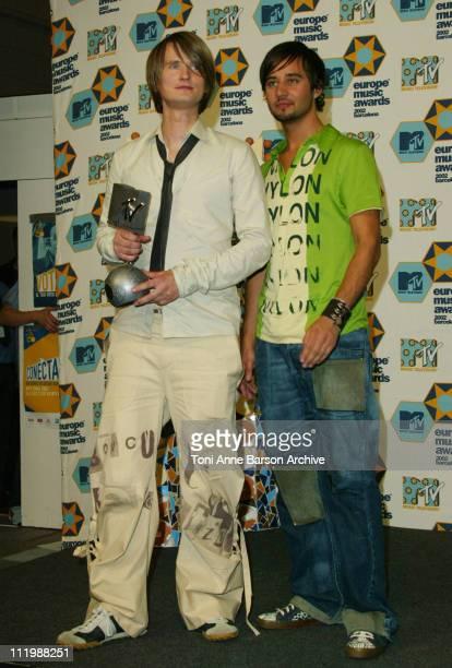 Royksopp during 2002 MTV European Music Awards Press Room at Palau Sant Jordi in Barcelona Spain