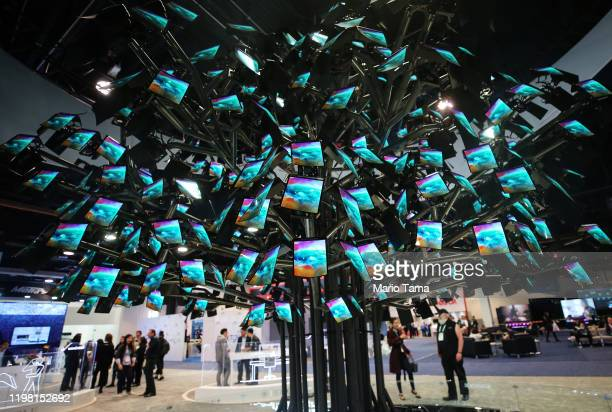 Royole FlexPai foldable smartphones are displayed at CES 2020 at the Las Vegas Convention Center on January 7, 2020 in Las Vegas, Nevada. CES, the...