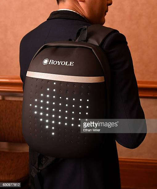 Royole smart backpack is displayed during a press event for CES 2017 at the Mandalay Bay Convention Center on January 4 2017 in Las Vegas Nevada...