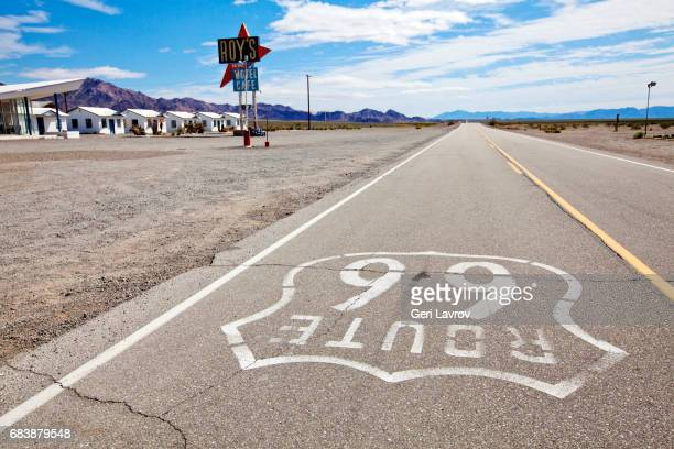 roy's cafe and motel along historic route 66: amboy, california, united states - amboy california stock photos and pictures