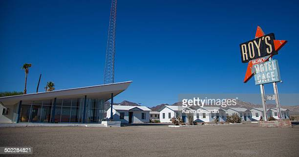 Roy's Motel and Cafe no longer operating sits along a remote stretch of Route 66 in the Mojave Desert at Amboy California It is owned by a private...
