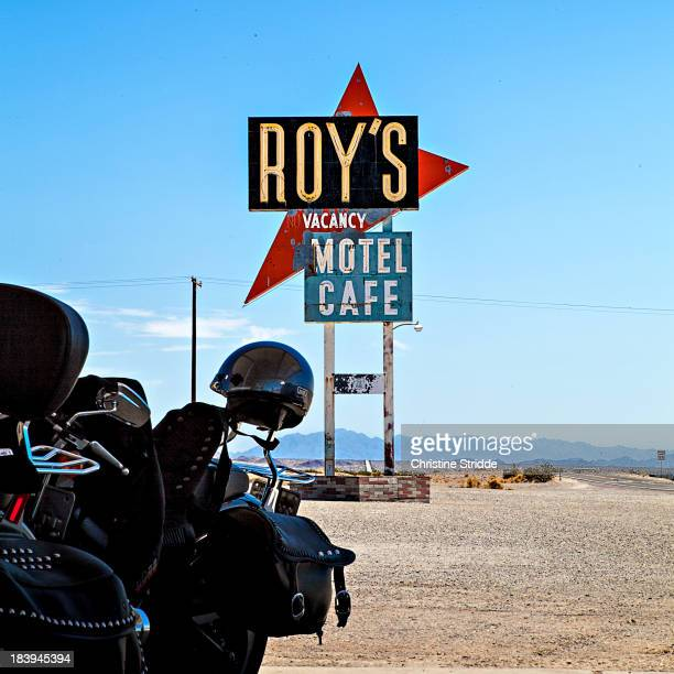 CONTENT] roy's motel cafe at the route 66 in amboy south california usa motobikes historical highway signs roadside attraction desert movie sights