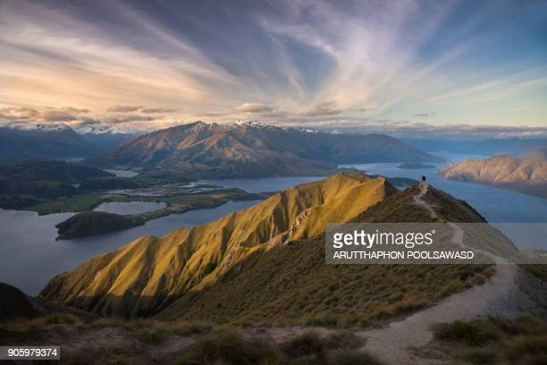roy's peak , mt.roys trekking track at wanaka lake with mountain and blue sky , otago , new zealand - queenstown stock pictures, royalty-free photos & images