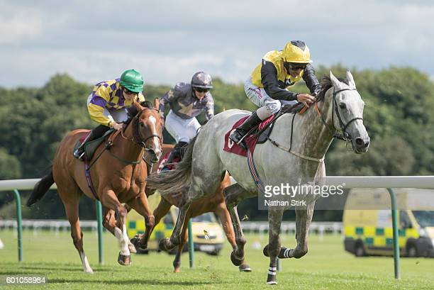 Royston Ffrench riding Snowy Dawn during The ApolloBET Online Casino And Games Handicap at Haydock Park Racecourse on August 4, 2016 in Haydock,...