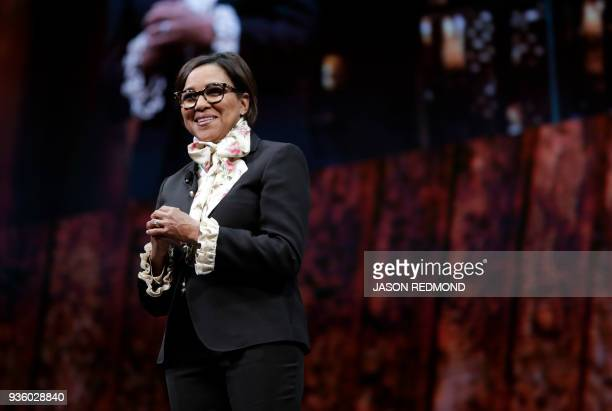 Roz Brewer Americas Group President and Chief Operating Officer smiles at the Starbucks Annual Meeting of Shareholders at McCaw Hall in Seattle...