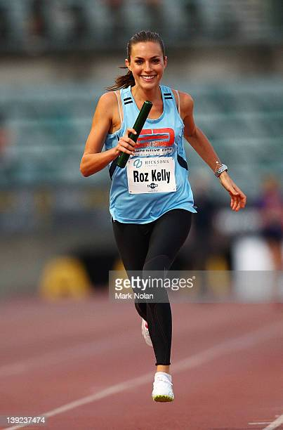 Roz Kelly competes in the Celebrity relay during the Sydney track Classic at Sydney Olympic Park Athletic Centre on February 18 2012 in Sydney...