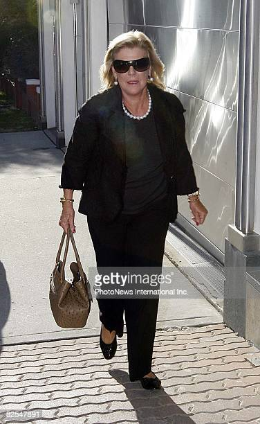 Roz Packer arrives to visits her newborn granddaughter Indigo born to her daughterinlaw Erica and son James Packer at their Bondi home on August 3...