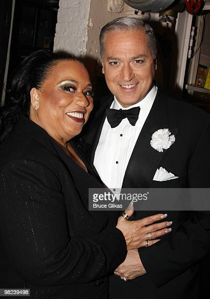 Roz Ryan as Mama Morton and Tom Hewitt as Billy Flynn pose backstage at the musical Chicago on Broadway at the Ambassador Theater on April 3 2010 in...