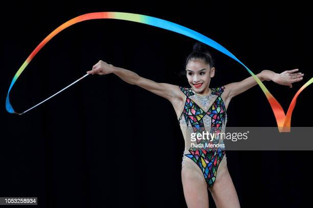 Roza Abitova of Kazahstan competes in in ribbon in Multidiscipline Team Event Final during Day 4 of Buenos Aires 2018 Youth Olympic Games at America...