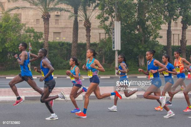 Roza Dereje of Ethiopia is out on the course and on her way to win the Standard Chartered Dubai Marathon 2018 in a new course record time of 21917