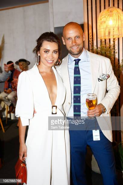 Rozalia Russian and Nick Russian attends 2018 Caulfield Cup Day at Caulfield Racecourse on October 20 2018 in Melbourne Australia