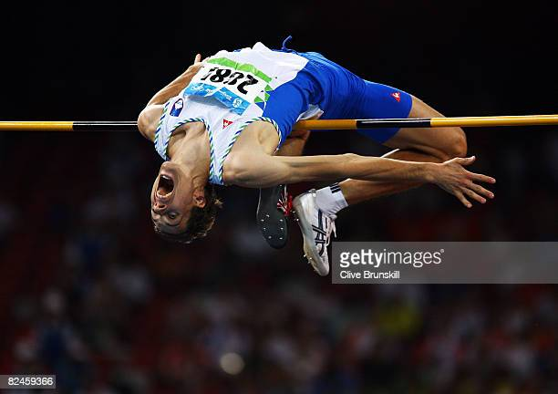 Rozle PrezelJ of Slovenia competes in the Men's High Jump Final held at the National Stadium on Day 11 of the Beijing 2008 Olympic Games on August 19...
