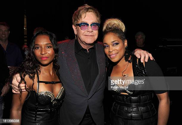 Rozonda Chilli Thomas Elton John and Tionne TBoz Watkins attend the iHeartRadio Music Festival at the MGM Grand Garden Arena on September 20 2013 in...