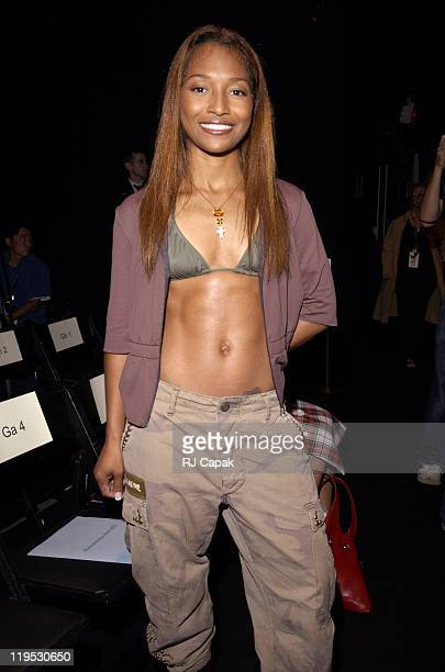 Rozonda 'Chilli' Thomas of TLC during MercedesBenz Fashion Week Spring 2004 Miguel Adrover Front Row at Bryant Park in New York City New York United...