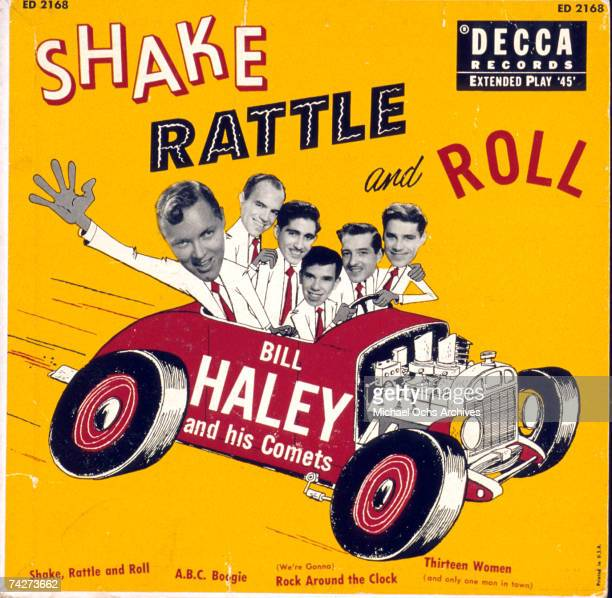 45 rpm cover sleeve for the Bill Haley and His Comets version of Shake rattle and Roll in 1954