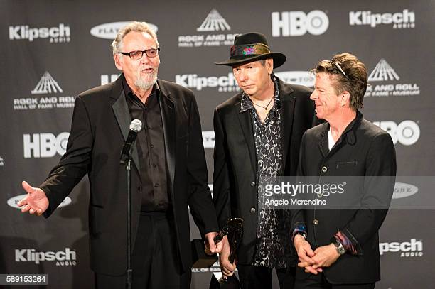 Rreese Wynans , Tommy Shannon , and Chris Layton talk with reporters at the 30th Annual Rock 'n Roll Hall of Fame Induction Ceremony on April 18,...
