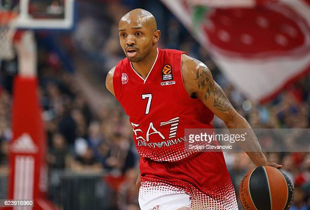RRicky Hickman of Armani in action during the 2016/2017 Turkish Airlines EuroLeague Regular Season Round 8 game between Crvena Zvezda MTS Belgrade...