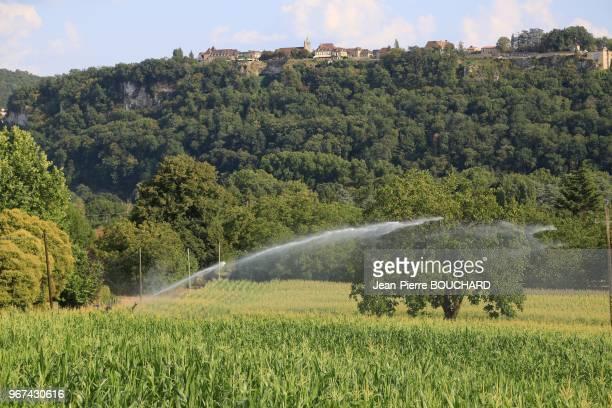 rrosage dété du maïs pendant la sécheresse à La RoqueGageac au pied de la bastide de Domme Dordogne le 16 août 2016