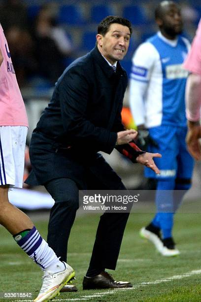 Rsc Anderlecht celebrates and Besnik Hasi head coach of Rsc Anderlecht pictured during the Jupiler Pro League match between KRC Genk and RSC...