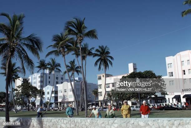 Résidences en mars 1992 à Miami Beach aux États-Unis.