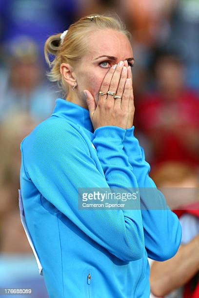 RSvetlana Shkolina of Russia eacts in the Women's High Jump final during Day Eight of the 14th IAAF World Athletics Championships Moscow 2013 at...