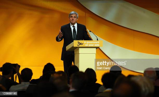 Rt Hon Chris Huhne Secretary of State for Energy and Climate Change speaks at the Liberal Democrat Autumn Conference at the International Convention...