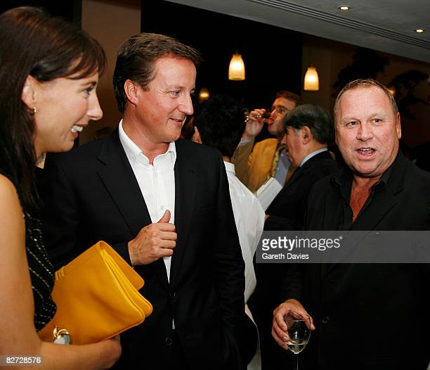 Rt Hon David Cameron and Samantha Cameron with Gary Farrow are seen at the launch party for 'Cameron on Cameron Conversations with Dylan Jones' at...