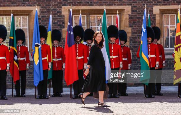 Rt Hon Jacinda Arderrn of New Zealand arrives to the Executive Session of the Commonwealth Heads of Government in London England April 19 2018