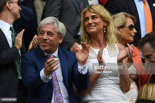 Rt Hon John Bercow and Sally Bercow watch on as Roger Federer of Switzerland plays Milos Raonic of Canada in the Men's Singles Semi Final match on...