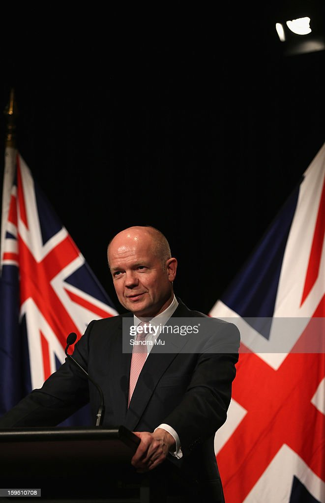 Rt Hon William Hague, Secretary of State for Foreign and Commonwealth Affairs United Kingdom of Great Britain and Northern Ireland speaks to media representatives at the joint media conference after a Bilateral meeting at The Langham Hotel on January 15, 2013 in Auckland, New Zealand. The Right Honourable William Hague is visiting New Zealand for bilateral meetings and a tour through the red zone of earthquake stricken Christchurch.