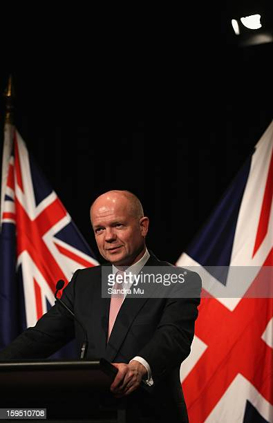 Rt Hon William Hague Secretary of State for Foreign and Commonwealth Affairs United Kingdom of Great Britain and Northern Ireland speaks to media...