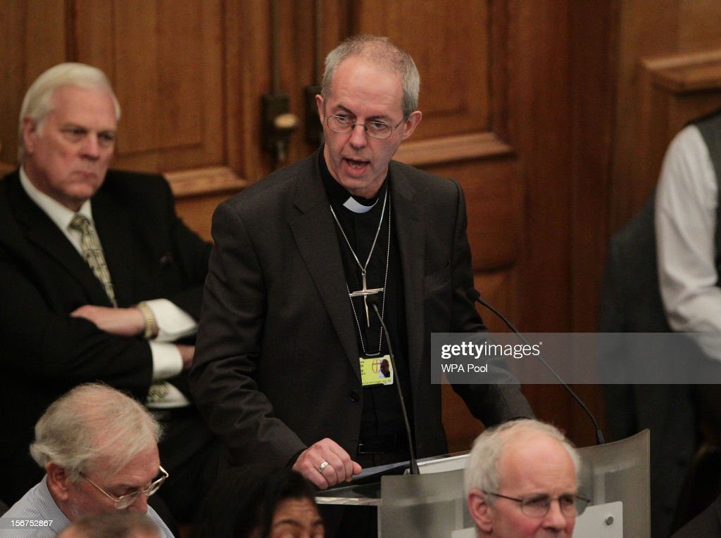 Rt Rev Justin Welby, the incoming Archbishop of Canterbury speaking during a meeting of the General Synod of the Church of England on November 20, 2012 in London, England. The Church of England's governing body, known as the General Synod, will later today vote on whether to allow women to become bishops.