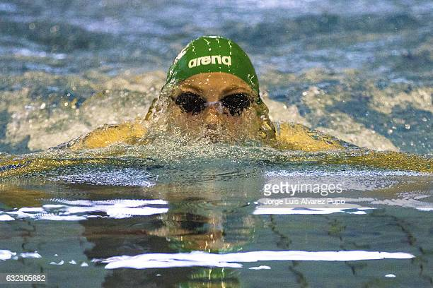Rta Meilutyt of Lithuania competes in the 100m Breastroke women series on day one of the 15th Flanders Speedo Cup at the Olympic swimming Centre on...