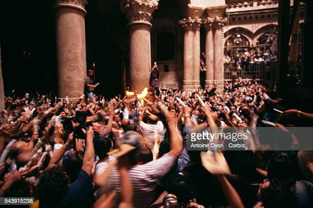 rthodox Christians in the Saint Sepulcre Basilicathe day after Good Friday