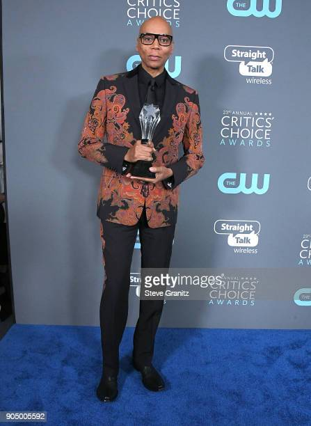 Ru Paul poses at the The 23rd Annual Critics' Choice Awards at Barker Hangar on January 11 2018 in Santa Monica California