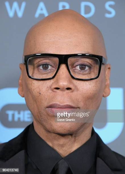 Ru Paul poses with the 'Best Reality Competition Series' award in the press room during The 23rd Annual Critics' Choice Awards at Barker Hangar on...