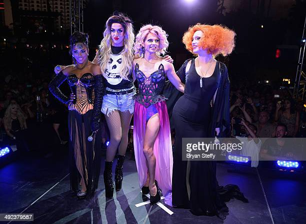 'Ru Paul's Drag Race' former cast member and host Shangela cast members Adore Delano Courtney Act and season five wnner Jinkx Monsoon appear during a...