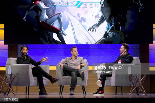 Ru Weerasuriya Jason Rubin and Troy Baker speak onstage at the Gaming Inside the Story SinglePlayer Narrative in VR panel during E3 2019 at the Novo...